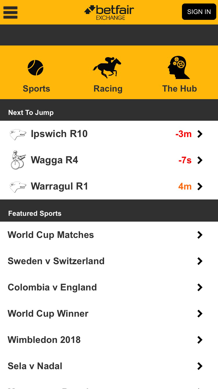 Betfair Mobile App Image